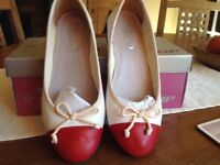 Ladies red and white leather ballet pump with 1 inch block heels UK size 3/EU 36