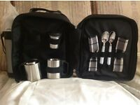 Picnic at ascot new back pack thermal bag with flask and contents
