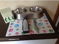 STAINLESS STEEL DOUBLE DOG BOWL SET, WATER CONTAINER, COMB, MAT AND TREAT TIN