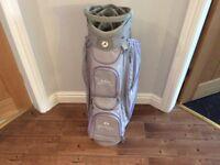 Motocaddy Lite Series Ladies golf bag in grey with lilac trim.