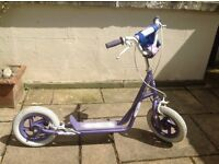 Scooter. Scoota Girl scooter, pneumatic tyres, front and rear brakes, detachable pocket bag,