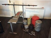 Gym weights and bench