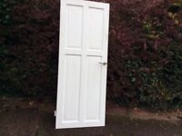 9 white painted (4 panel) wooded interior doors.