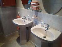 Twin Selles bathroom wash basins in Misty Peach - size 550mm x 450mm.