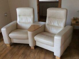 2 Seater Cream Leather 'Stressless' Cinema Seat