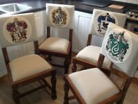 Vintage oak custom hardwood Harry Potter chairs, bedroom/dining chairs. Free gift if all 4 bought