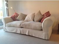 Sofa Workshop Caravaggio Large Sofa and Snuggler. Cream brushed cotton plus cushions
