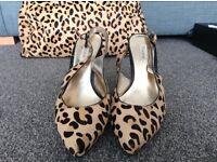 Dune sling back leopard heels and tote bag - size 7