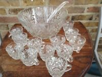 Glass Punch Bowl With 12 Cups & Ladle