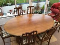 Solid Oak Oval Table with 6 Chairs