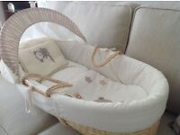 Moses Basket with hood, mattress covers and blankets
