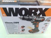 WORX 20V cordless Li-on Combi drill 2 4.0ah barreries charger case BARGAIN
