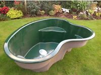 Fibreglass fish pond never used L200cm W140cm D62cm.