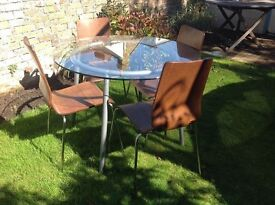 Circular Glass table and chairs
