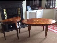 Vintage coffee table and matching music box accent table *good condition*