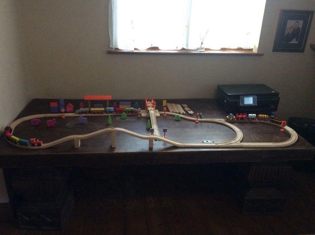 75 piece wooden train set