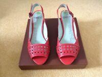 Ladies Red Leather Peeptoe, Slingback Shoes
