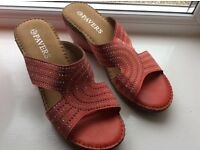 Coral pink wedge sandals