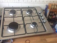 Stainless steel gas hob, barely used, excellent condition