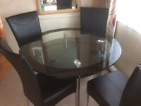 Glass dining table and 4chairs