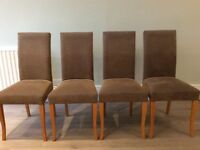 4 high backed fabric dining room chairs with wooden legs