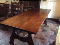 Antique Refectory style dining table and six chairs made of Dutch Oak. Table measures 200cm x 90cm
