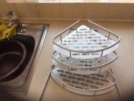 Three tier corner shower storage tray in aluminium, non rusting.