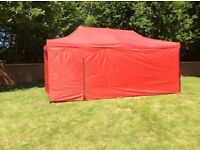 Gazebo awnings 3m x 4.5m or 3m x 6m red or blue with full sides and door new boxed,