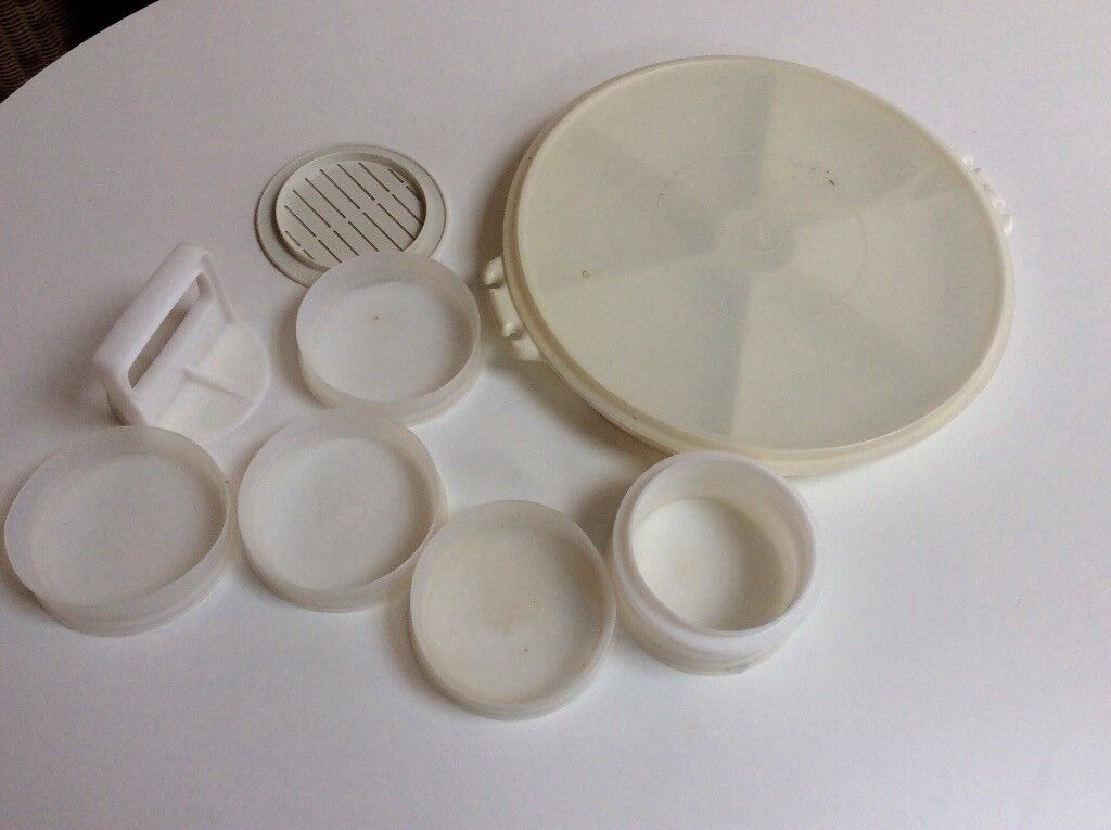 Vintage Tupperware burger press and lazy Susan party selection container