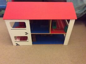 Wooden doll's house and wooden furniture