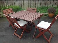 Patio Wooden table & 4 chairs