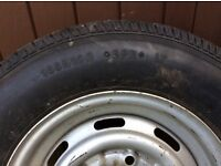 Wheel complete with tyre 165R 13 C. Little used.