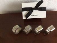 POLISHED STAINLESS STEEL SERVIETTE RINGS x 4