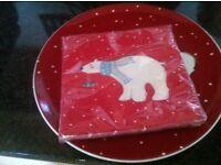 CHRISTMAS POLAR BEAR PLATES WITH MATCHING NAPKINS