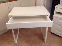 White Ikea Micke desk.