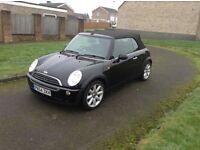 54 mini one 1,6 black convertible long mot low insurance services history £2250