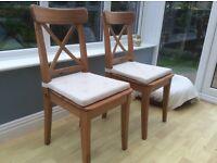 IKEA Ingolf Pine Dining Chairs (2)