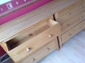 solid oak 3 draw set of drawers