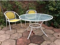 Garden patio table and chairs - glass top table and 4 chairs