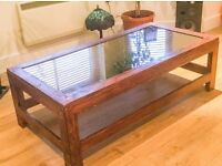 SOLID WOOD SMOKEY MIRRORED TOP SHABBY CHIC HEAVY COFFEE TABLE HAND STAINED REALLY 135cm x68 X 43cm
