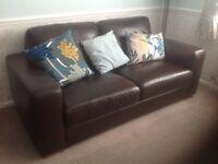 2 NEXT Armitage leather sofas in Cuba walnut, a medium sofa (3 seats) and a small sofa (2 seats).