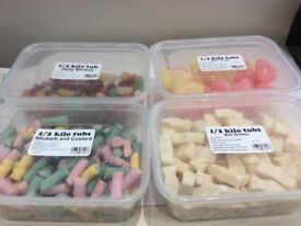 Half a kilo tubs of sweets. Great for parties or treats.