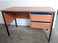 SOLD Small teak effect home / office desk with two drawers