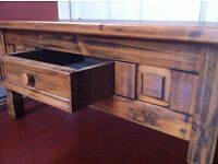 Large Real Wood Antique Oak Distressed Coffee Table with Drawer / Can Deliver