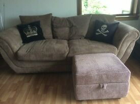 Comfy 3 seater sofa plus storage stool, mid brown cord fabric