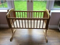 Beautiful, wooden swinging crib - comes with mattress (Mothercare) - excellent condition!