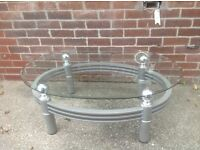 Glass tv stand and coffee table excellent condition for sale