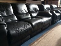 Black leather 3 piece suite electric recliner chairs as new free delivery