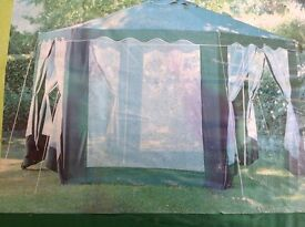 Homebase hexagonal Gazebo 4m x 4m includes side panels
