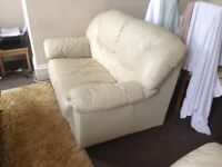 2&3 Seater sofas beige leather good condition £50 buyer collect only.